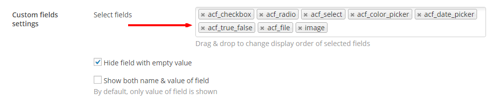 Select ACF fields - Content Views Pro