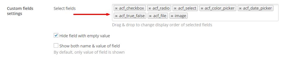Select ACF fields - Content Views Pro