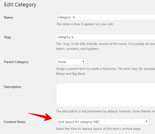 Content Views Pro - specific View for replace category layout