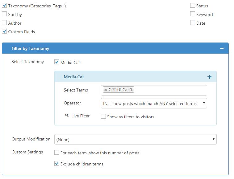 CVP - filter by Taxonomy, Custom Fields for Media