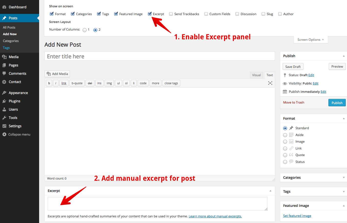 WordPress manual excerpt