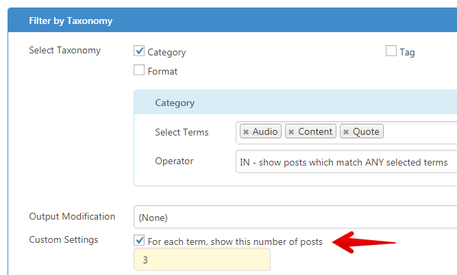 Content Views Pro - X posts per term