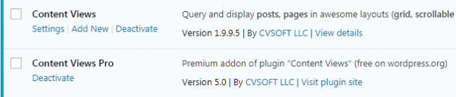 Plugins - Content Views and Content Views Pro