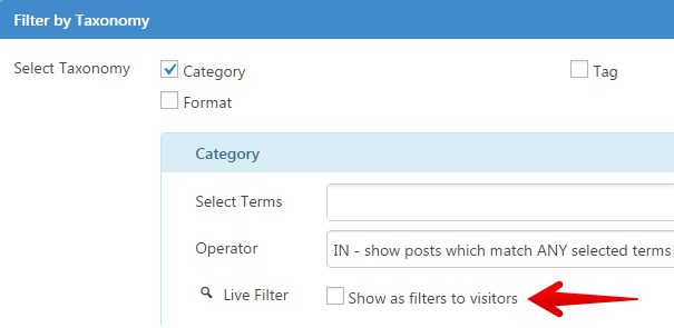 Content Views Pro - enable live filter taxonomy