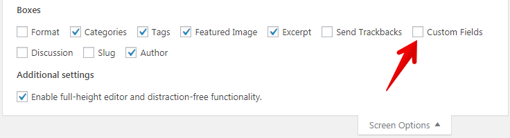 Enable WordPress custom field