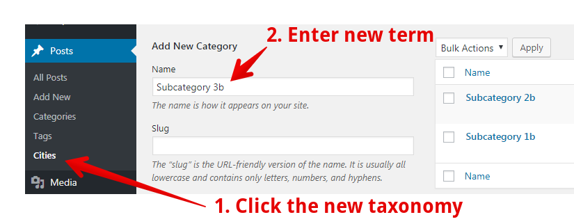 CVP - add a new term to WordPress taxonomy