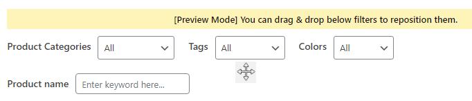 drag drop live filter